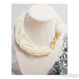 Multi-Strand Pearl and Leopard Clasp Necklace